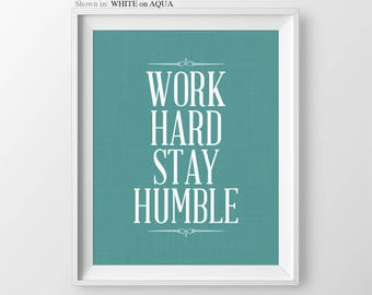 Work Hard Stay Humble Cubicle Wall Art Job Promotion Gift New Office Gift New Job Gift Office Wall Art Coworker Gift Cubicle Decor Office