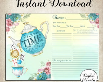 Digital Alice in Wonderland Recipe Cards - Collage Sheet,Printable,Download,Kitchen, Cookbook,Favors,Bridal Shower,Baby Shower,Time For Tea