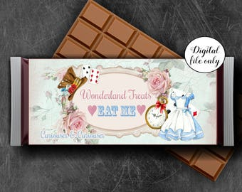 Alice in Wonderland Candy Chocolate Bar Wrapper - Hershey bar wrapper - Party,Favor,Digital,Printable,Download,