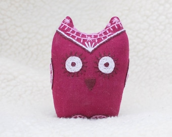 Soft owl toy. Stuffed owl. Pink owl. Pink bird. Embroidered owl. Baby shower gift