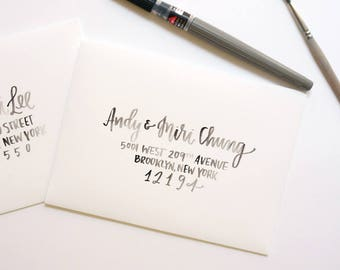 watercolor brush calligraphy for wedding and party invitations // brush lettered handwritten addresses for mailing envelopes