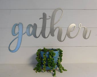 gather sign metal gather sign rustic word art sign housewarming gift idea - Metal Halloween Decorations