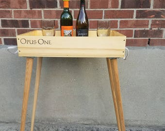 Repourposed Wine box - serving tray table stand