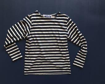 Club de Mar Navy & White Stripe Long Sleep Top Women's M