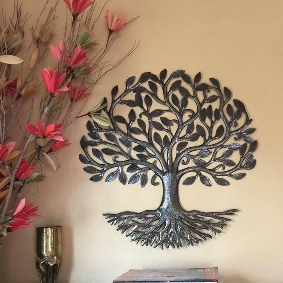 "Living Tree of Life, Folk art, Haiti Metal Art, Hand Hammered Steel, Garden Art, Recycled Metal Barrel 23"" x 23"""