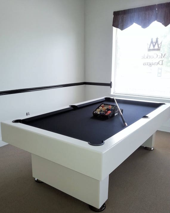 Awesome 7ft Custom Modern Pool Table With Black Felt All White Finish