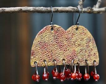 Rustic artisan earrings, Artisan copper jewelry, Dangle copper earrings, Stone earrings, Gold patina earrings, Sterling silver hooks, Gift