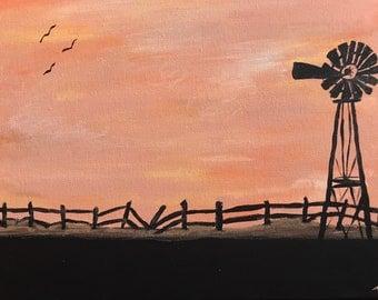 Sunset and Windmill