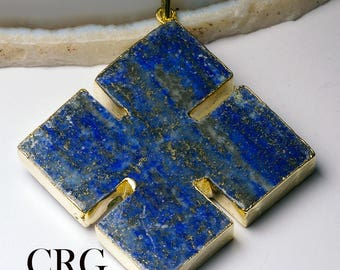 "Gold Plated THICK Lapis Cross Pendant 2"" - (CR22DG)"