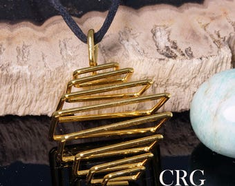 Gold Plated Square Spiral Cage Pendant on Black Cord (CP10DG)