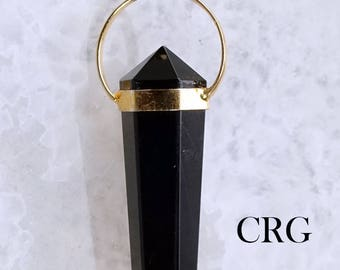 Gold Plated Double Terminated BLACK TOURMALINE Fixed Point Pendant (DT41DG)