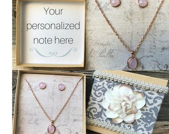 Rose Gold Necklace, Rose Gold Earrings, Personalized Gift For Bridesmaid, Bridesmaid Gift, Necklace Gift, Bridal Gift Box,