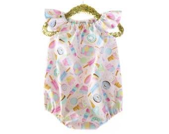 Baby Romper, Toddler Romper, Summer Romper, Donut Romper, Ice Cream Romper, Baby Girl Outfit, First Birthday Romper, Cake Smash, Rompers