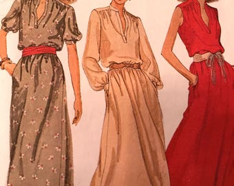 Romantic Vintage Poet's Blouse Style Dress Pattern---McCalls 6651---Size 18  Bust 40