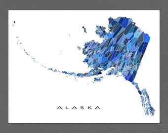 Alaska Map Print, Alaska State Art, AK Wall Decor
