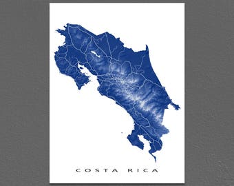 Costa Rica Map Print, Costa Rica Wall Art, San Jose, Central America, Country Map