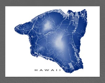 Hawaii Map Print, Big Island of Hawaii, Volcanoes National Park, Hilo, Kona