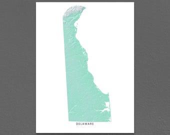Delaware Map Print, Delaware State, Aqua, DE Landscape Art