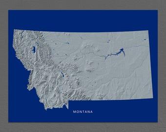 Montana Map, Montana Wall Art, MT State Art Print, Landscape, Navy Blue