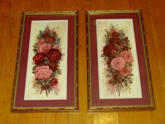 Vintage rose prints pink flower prints framed flower art for Glynda turley painting