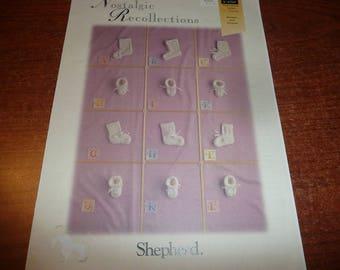 Shepherd Nostalgic Recollections & A Dozen Baby Booties Pattern Leaflets