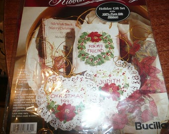 Bucilla Silk Ribbon Embroidery Holiday Gift Set