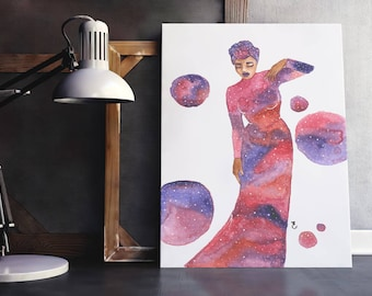 Andromeda | fashion illustration print, galaxy, watercolor, black art, home decoration, wall art, gown, purple, blue, red, stars, space