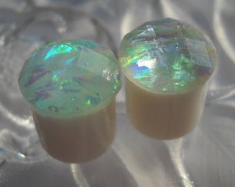 "1/2"" White Opalescent Plug, 13mm Plug, 1/2 Plug,"