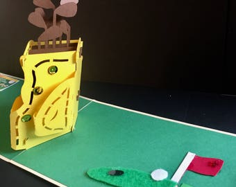 Happy Birthday/Golf/For Him For Her/ Fathers Day/Just To Say/ Golfer/ Sports Fan/Tiger Woods/Golf Caddy Handmade 3D Pop Up Card