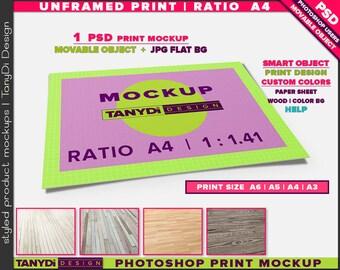 Unframed Print A4 Ratio 1.41 PSD Mockup | Movable Empty Landscape Print UFP-A4-L | Wood Floor | A6 | A5 | A4 | A3