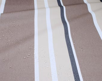 Fabric cotton acryl stripes beige brown cagoule coated table cloth water repellend