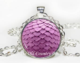 Dragon egg pendant Purple - Glass Pendant Necklace with Chain- , Mother's Day Gift, Friend Gift,Birthday Gift