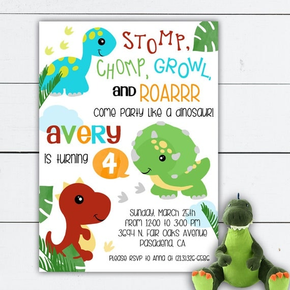 Dinosaur Birthday Dinosaur Birthday Invitation Dinosaur Invitation