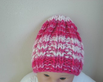 Chunky bright pink kids hat size 2 till 5 yrs comfortable hat knit in round no seams hand knit pink girl hat toddler hat winter accessory