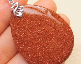 Red Goldstone silver plated pendant   (#J1615, J1616)