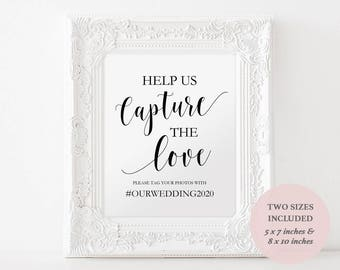Printable Hashtag Sign - Wedding Social Media Sign - Instagram Sign - Capture the Love Sign - Instant Download - 8x10 and 5x7 - #GD0114