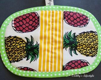 Pineapples Mini Pot Holder, Oven Mitt. Handmade.