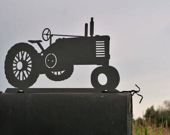 Vintage Tractor Mailbox Topper, Metal Tractor Mailbox Top, farm tractor sign, vintage tractor sign, tractor mailbox, tractor sign