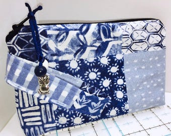 Blue Patchwork Wristlet, Phone Case, Women's Small Wallet, Multi-Purpose Wristlet, HEAVILY Padded, Coupon Organizer, Zipper Pouch