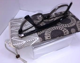 Sunglass Case, Brown Eyeglass Case, Zipper Top Glasses Case, Glasses Case, Case For Glasses, Eyeglasses Case, Fabric Glasses Case