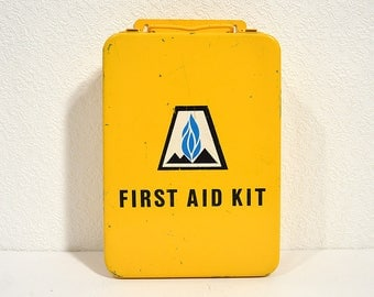 Vintage Metal First Aid Cabinet- Yellow 1970s Wall-Mountable First Aid Kit with Mountain Fuel Supply Co Logo, Vintage Medical Supplies