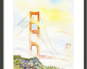 Golden Gate Bridge, ORIGINAL Watercolor Painting, Hand Painted 8x10, San Francisco, California, Bay Area, Coastal Fog, Presidio, SF wall art