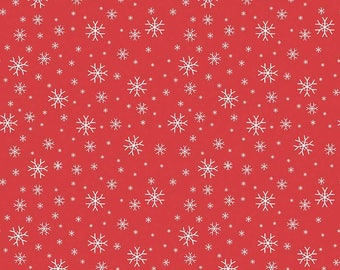 FLANNEL 1 Yard JIngle Jangle by Christopher Thompson for Riley Blake Designs- F6603 Jingle Snowflake Red