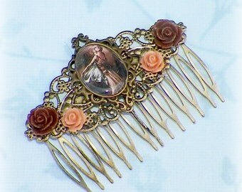 Butterfly Hair Comb Vintage Style Art Nouveau Bridal Victorian Rose Cameo Gyspy Boho  Steampunk Wedding Gothic Bohemian