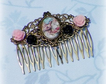 Pink Hair Comb Victorian Blue Vintage Cameo Style Gothic Bridal Black Rose Gyspy Boho  Steampunk Wedding Gothic Bohemian