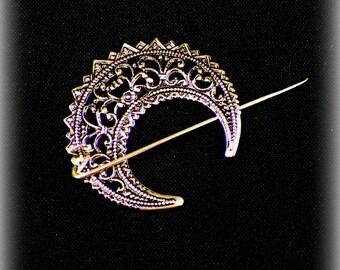 Mimimalistic Celtic Shawl Pin Penannular Brass Cloak Brooch Vintage Hammered Minimalist  Style Scarf Pin Stick Outlander Outlander
