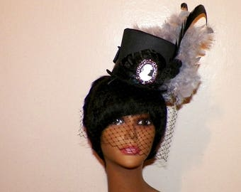 Mini Top Hat Black Gothic Fascinator Steampunk  Gray Gothic Cosplay Costume Bridal  Tea Party