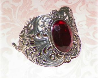Silver Ruby Cuff Bracelet Goth Wide Victorian Vintage Sterling Red Statement Style Steampunk Cosplay Costume Gothic Antique Style