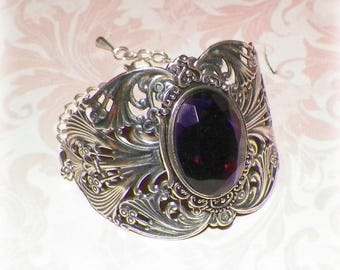Silver Cuff Bracelet Purple Goth Wide Victorian Vintage Sterling Amethyst Color Statement Steampunk Cosplay Costume Gothic Antique Style