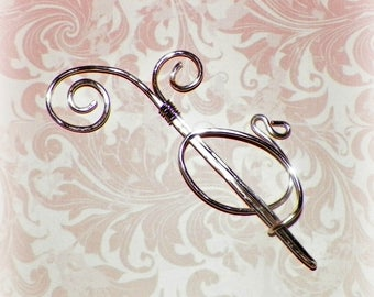 Silver Celtic Shawl Pin Mimimalistic Brooch Vintage Hammered Minimalist  Style Scarf Pin Outlander Stick Pin Outlander